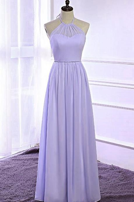 Lavender chiffon, open back ,long halter strapless,floor length prom dress, bridesmaid dress ,New Fashion