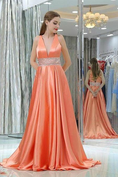 Sexy Long Evening Dress ,Floor Length ,New Fashion,A-line V-neck ,Satin Backless Prom Dress