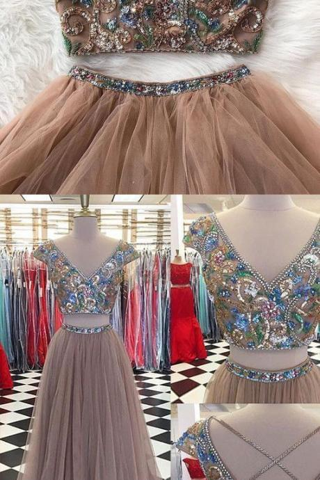 Sparkly Two Pieces, Tulle V-neck ,Cap Sleeves Prom Dresses, Newest Fashion Dresses,Sexy Party Dress,Custom Made Evening Dress