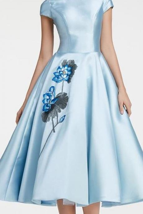 Modest Ball Gown, Ice Blue Vintage Prom Dress with Sleeves, Homecoming Dress With Appliques,Sexy Party Dress,Custom Made Evening Dress