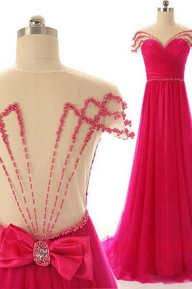 Hot Pink Prom Dresses,Backless Evening Gown,Sexy Formal Dress,Beaded Prom Dresses,Sexy Party Dress,Custom Made Evening Dress