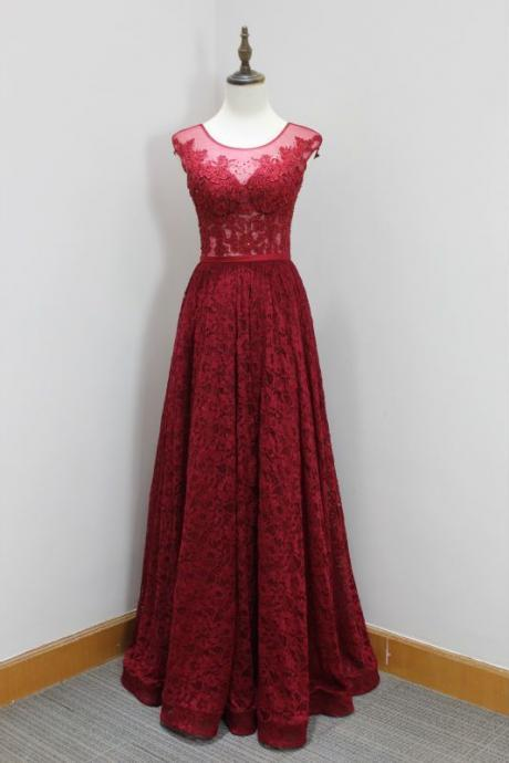 Gorgeous Red Prom Dress,Sleeveless Lace Evening Dress,Beading Prom Dress,Sexy Party Dress,Custom Made Evening Dress