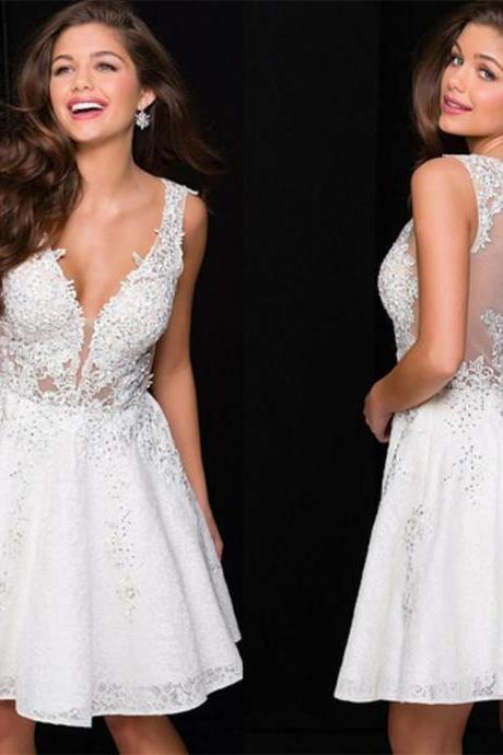 Newest Deep V-neck White lace beading homecoming dresses, short/mini prom dresses,Sexy Party Dress,Custom Made Evening Dress