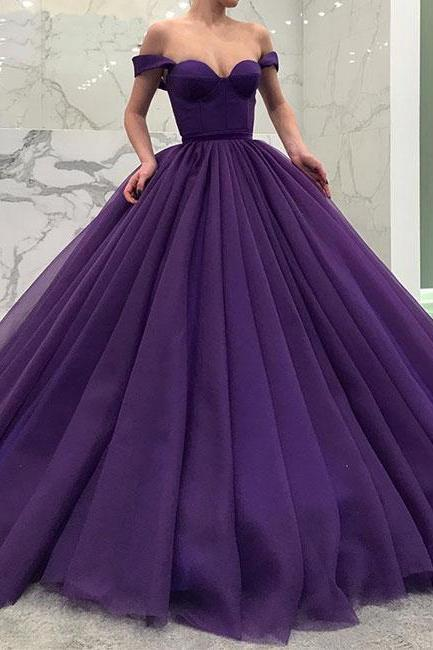 Simple Prom Dress,Purple Tulle Prom Dress,Off Shoulder Evening Dress ,Floor Length Prom Gowns,Cheap Prom Dress,Sexy Party Dress,Custom Made Evening Dress