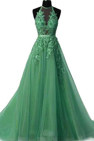 Simple Prom Dress,Green Tulle Prom Dress,Halter Evening Dress ,Floor Length Prom Gowns,Cheap Prom Dress,Sexy Party Dress,Custom Made Evening Dress