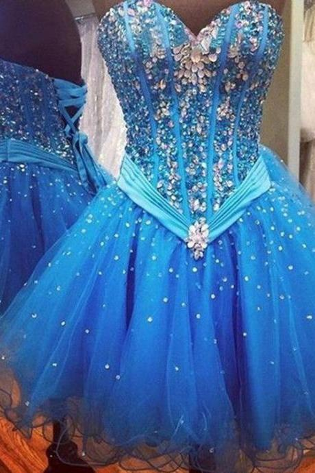 Above Knee Length Beaded, Blue Tulle Homecoming Dress, Short Homecoming Dress,Sexy Party Dress,Custom Made Evening Dress