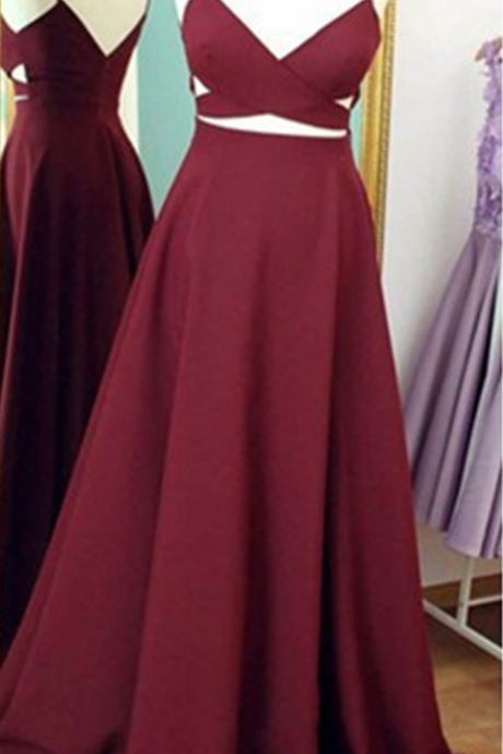 Burgundy Prom Dresses,Simple Evening Dress,Spaghetti Straps Evening Dress,Wine Red Formal Dress,Backless Party Gowns,Floor Length Formal dress, Custom Made ,New Fashion