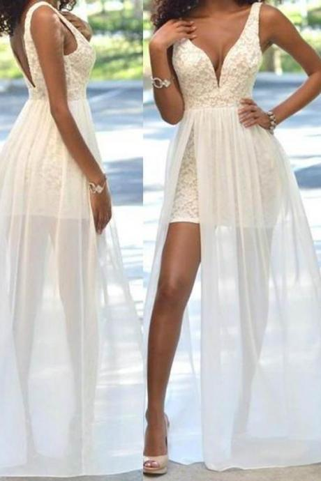 Long Sexy White A-line ,Straps Sleeveless, Zipper Appliques Prom Dresses ,Floor Length Formal dress, Custom Made ,New Fashion