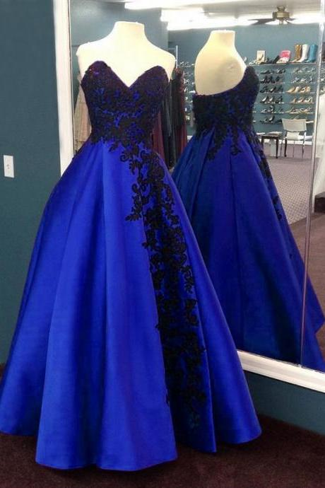 Strapless Prom Dress, Lace Appliques Prom Dress, Long Strapless Prom Dress, Sweetheart Prom Dress,Custom Made ,New Fashion