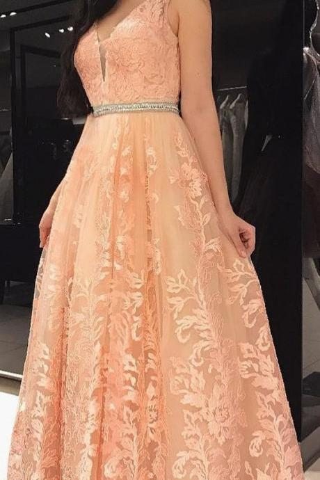 A-Line V-Neck, Backless Long Peach Lace Prom Dress with Beading, Formal Women Dress, Custom Made ,New Fashion