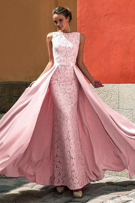 Attractive Lace & Satin Jewel Neckline ,A-line Prom Dress , Formal Women Dress, Custom Made ,New Fashion