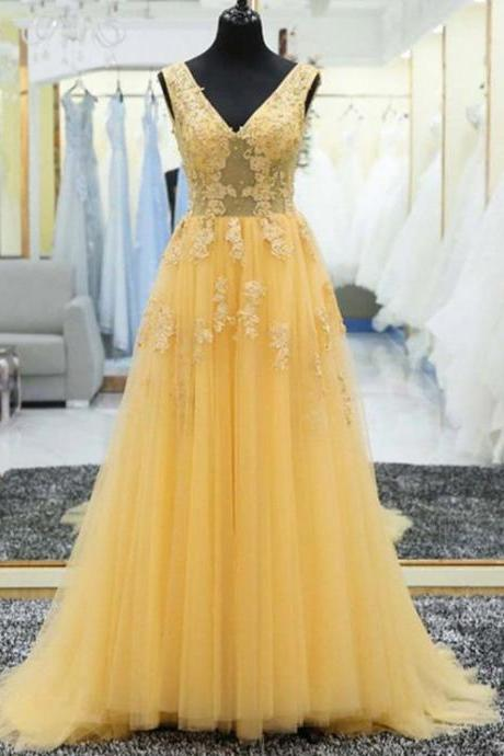 Yellow Prom Dresses, Prom Dresses For Cheap, Modest Prom Dresses, Prom Dresses Long , A-line Prom Dress, Customize Made