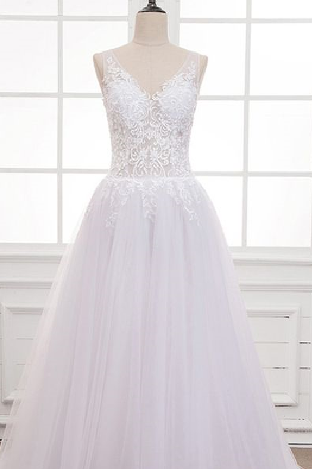 Charming Tulle ,V-neck Neckline, See-through, A-line Wedding Dress With Lace Appliques & Beading , Lace Appliques, Customize Made Prom Dress