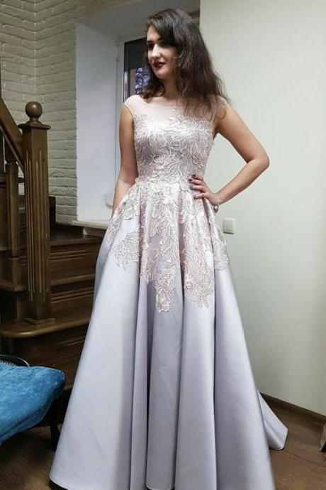 Silver Prom Dresses, Prom Dresses 2018, Prom Dresses A-Line, Prom Dresses Backless,Floor Length , Customize Made ,2018 new fashion ,Prom Dress