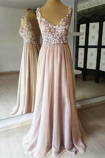 New design champagne chiffon ,open back long ,3D lace flower ,senior prom dress, evening dress,Floor Length , Customize Made