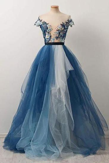 Pretty blue and white tulle V neck cap sleeve long embroidery evening dress, formal dress,Floor Length , Customize Made ,2018 new fashion ,Prom Dress