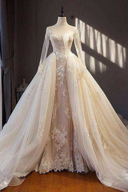 Bateau Neckline Ball Gown,White Tulle Wedding Dress with Lace , Sweep Train ,Long Sleeves ,Lace Appliques, Customize Made ,Prom Dress