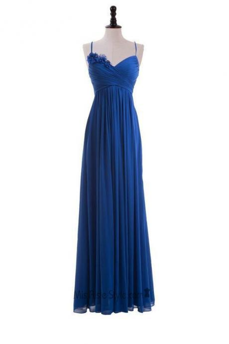 Royal Blue Floral Embellished Ruched Plunge V Spaghetti Straps Floor Length A-Line Formal Dress,Floor Length , Customize Made