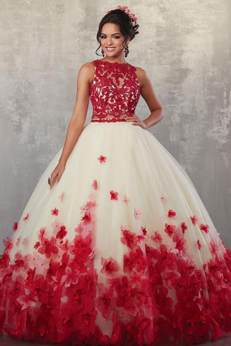 Marvelous Tulle Jewel Neckline Cut-out Two-piece Ball Gown Quinceanera Dress With Handmade Flowers & Lace Appliques & Beadings,Floor Length , Customize Made ,2018 new fashion ,Prom Dress