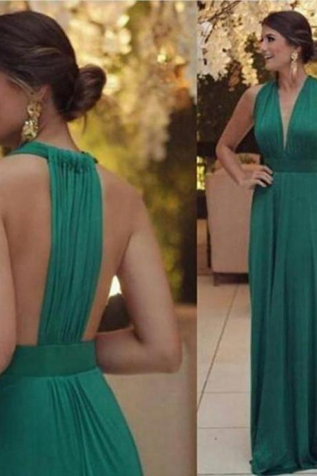 Chiffon Prom Dresses, Long Prom Dresses, A-Line Prom Dresses ,Sexy Sleeveless Formal Evening Dress,Custom Made,Floor Length