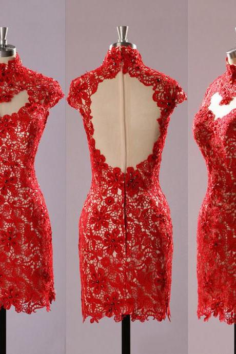 Red High Neck Lace Prom Dresses, Open Back Prom Dress with Cutout, Floral Lace Cap Sleeve Short Prom Dress,Sexy Formal Evening Dress