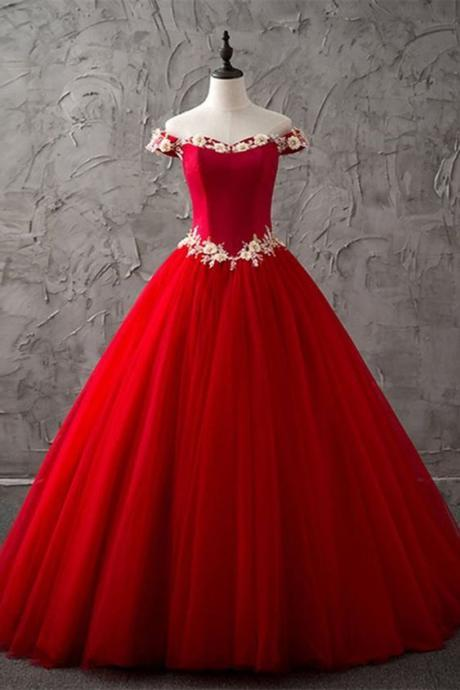 Princess red tulle off shoulder sweetheart long high neck evening dress with white lace flower, Formal Dress ,Sexy Formal Evening Dress,Custom Made,2018 New Fashion