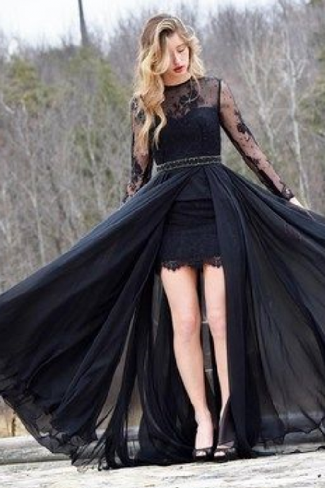 Gorgeous Long Sleeves Black Prom Dress with Train,Sexy Formal Evening Dress,Custom Made,2018 New Fashion