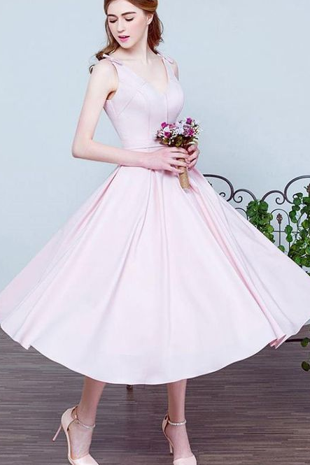 Hot Pink Homecoming Prom Dresses With Pleated Lace Up Tea-length Delightful Prom Dresses,Sexy Formal Evening Dress,Custom Made,2018 New Fashion