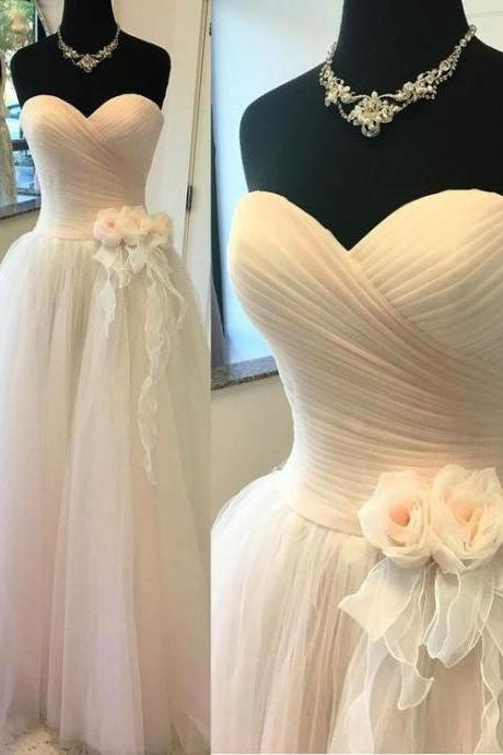 A-line Sweetheart Floor-Length Tulle Wedding Dresses With Flowers,Sexy Formal Evening Dress