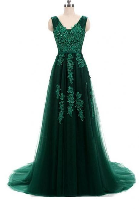 Hunter Green Lace Applique ,Tulle Prom Dresses ,Featuring V Neck And Lace-up , Sexy Formal Dress,Custom Made,2018 New Fashion