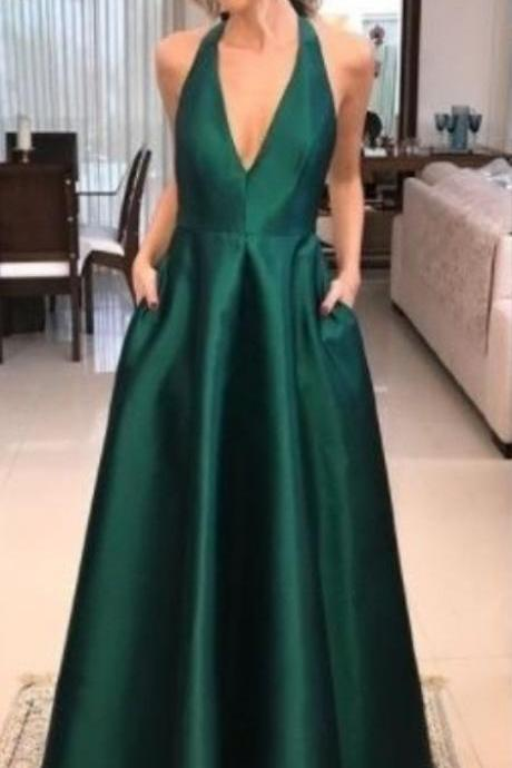 V Neck Emerald Green Prom Dress party dresses