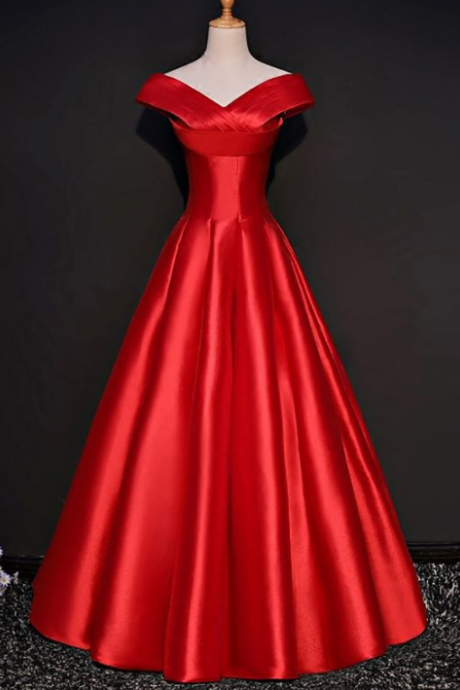 Simple Red Formal Satin Party Dress With Cap Sleeves v-neck party dress