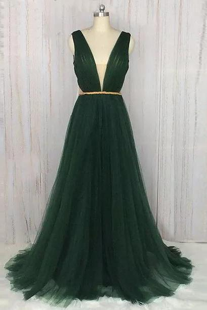 V-Neck Elegant Prom Dresses,Green Prom Dresses,Formal Women Dress