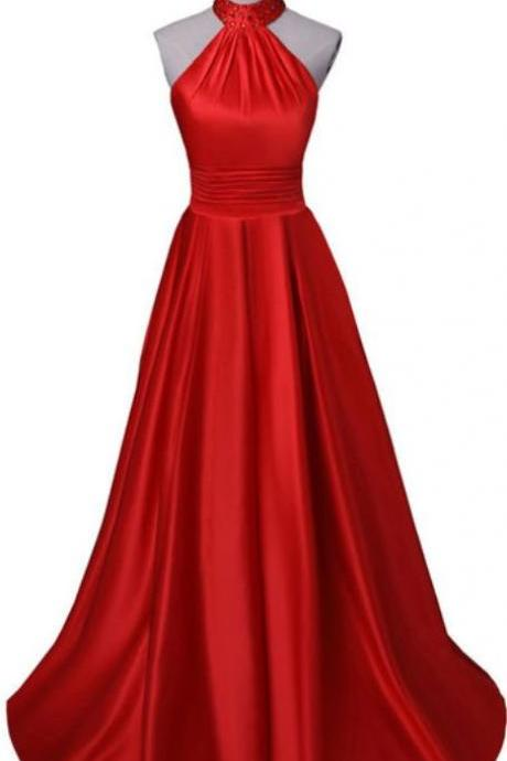 red ball gown, formal evening dress,halter ball gown , floor length evening dress, sleeveless ,open back sexy prom