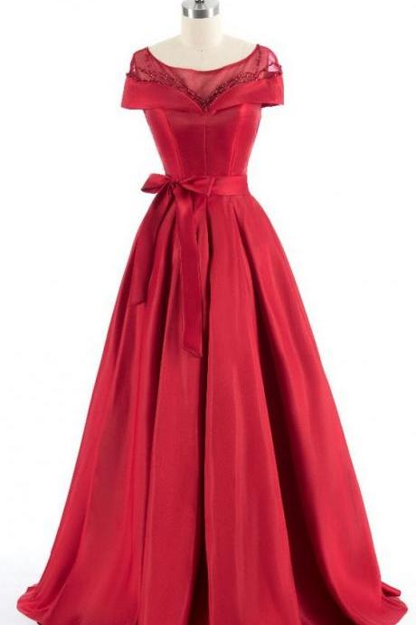 Red shoulder evening dress luxury intermittently long bridge wear evening dress