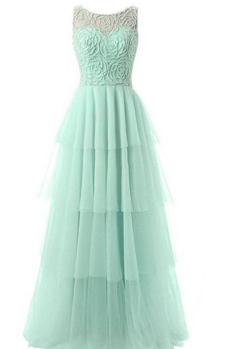Sleeveless Prom Dress, Mint Green Tulle Prom Dresses,Elegant Homecoming Dress, Long Prom Gowns