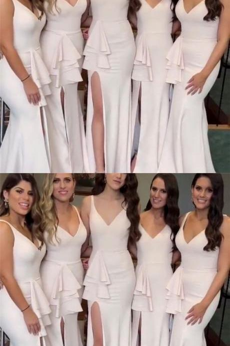 Stylish Mermaid V-neck Long Jersey Split Bridesmaid Dresses,Custom Made,Party Gown,Cheap Evening dress