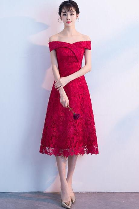 Red Off The Shoulder A-line Lace Midi Dress,Gorgeous Evening Homecoming Dress,Custom Made