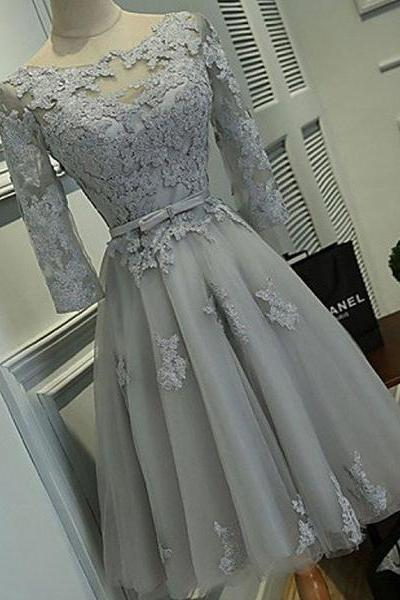 Half Sleeve Silver Tulle with Lace Appliqued Short Prom Dresses ,Hot