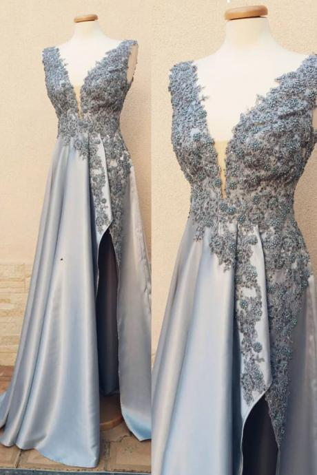 GRAY V NECK LACE SHORT PROM DRESS, GRAY EVENING DRESS