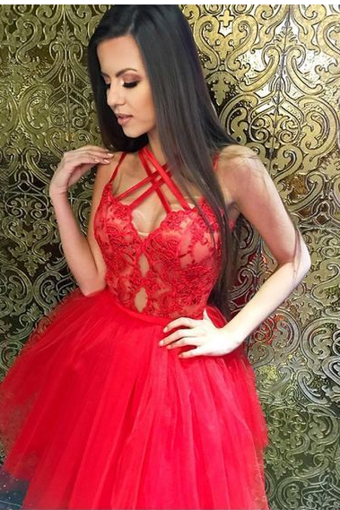 A-Line Cross Neck Red Tulle Homecoming Dress with Lace, Cute Dresses 2018, Short Prom Party Dresses