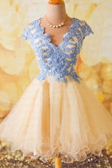 New Arrival Cap Sleeve Homecoming Dress,Sexy Prom Gown,Beaded Prom Dresses,Tulle Party Dress