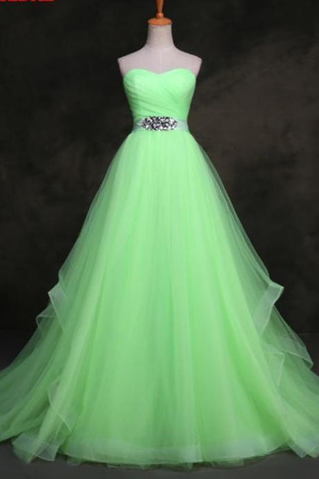 Custom Made Green Sweetheart Neckline ,A-Line Evening Dress with Crystal Embellished Waistline , Prom Dress, Wedding Dress, Bridesmaid Dresses
