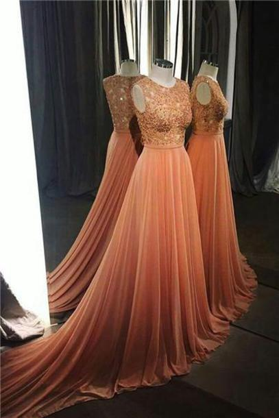 Lace Prom Dress, Long Chiffon Prom Dress, Scoop Neck Prom Dress, Lace Evening Dress,Lace Appliques prom dresses