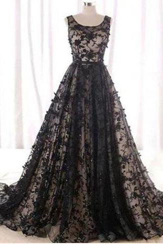 BLACK PROM DRESS A-LINE SCOOP LACE ELEGANT LONG PROM DRESSES/EVENING DRESS