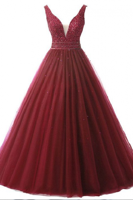 Ball Gown Prom Dresses Burgundy Backless, V-neck Formal Dresses Long,Tulle Beading Evening Party Dresses