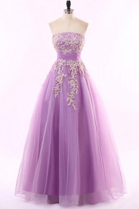 Ball Gown Prom Dresses Noble Princess Strapless, Tulle Appliques Lace Long Prom Dress Evening Party Dresses