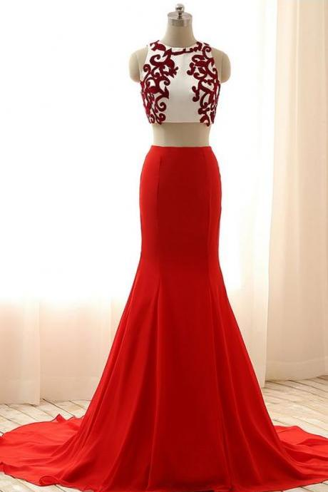 Cheap prom dresses , Long Red Dresses,Sexy Two Pieces Red Dresses