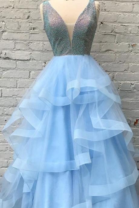 Luxurious A-line Sequins Light Sky Blue Tulle Long Prom Dress
