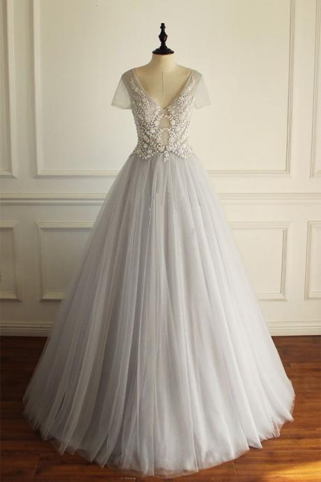 A-LINE DEEP V-NECK SHORT SLEEVES FLOOR LENGTH LACE APPLIQUE TULLE PROM/EVENING DRESS